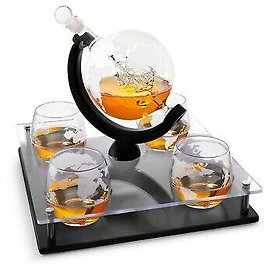 Etched Globe Whiskey Decanter Set + 4 Whisky Glasses 10 Oz. On Rich Wood Stand 740102266613