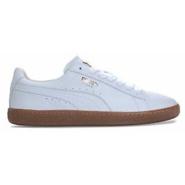 PUMA TRAINERS BASKET GUM DELUXE MENS WHITE LEATHER SNEAKERS