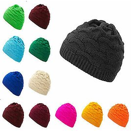 Mens Womens Cable Knitted Bobble Hat Beanie Very Warm Winter Cosy Fleece Liner