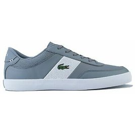Men's Lacoste Court Master Leather Upper Trainers in Grey