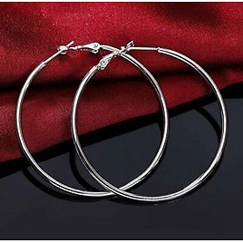 925 Silver Hoop Earring For Women 70MM Big Round Circle Earrings Jewelry Gift