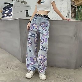 US $9.06 39% OFF Women Jeans High Waist Loose Straight Pants 2020 Cartoon Printed Zipper Casual Female Long Trousers Large Size Mom Long Pants Jeans  - AliExpress
