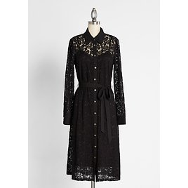 Lace and Love Letters Midi Shirt Dress