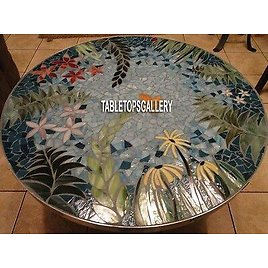 42'' Marble Dining Table Top Lapis Floral Inlay Outdoor Patio Mosaic Decor H3990