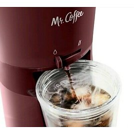 NEW MR.COFFEE Iced Coffee Maker Reusable Tumbler and Coffee Filter - BURGUNDY