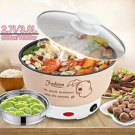 1000W Electric Cooker Heating Pan Cooking Pot Hotpot Steamer Noodles Rice ☆ ☆