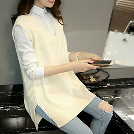 Women Knitted Vest Waistcoat Jumper Sweater Casual Tops V Neck Pullover White