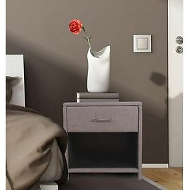 Grey Bedside Table 1 Drawer Metal Runners High Quality Grey Fabric Or Lamp Table