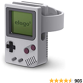 Elago W5 Apple Watch Stand Compatible with IWatch Series 6, Series SE, Series 5, Series 4, Series 3, Series 2, Series 1 / 44mm, 42mm, 40mm, 38mm, Support Night Stand Mode [Light Grey]