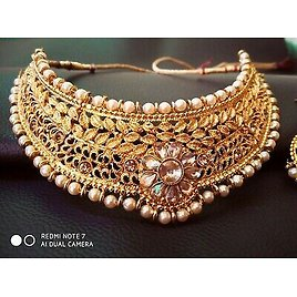South Indian Choker Gold Plated Bollywood Fashion Traditional Bridal Set Women