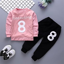 2pcs Baby Unisex Casual Numbers Baby's Sets Solid Cotton Fashion Long Sleeve Infant Clothing Outfits