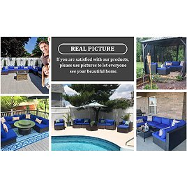 Outdoor Rattan Couch 5pcs Black Wicker Christmas Decoration Gift Sectional Conversation Sofa Set Lawn Garden Patio Furniture Set