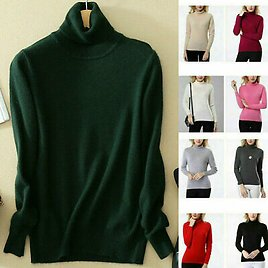 Women's Slim Knitted Turtleneck Sweater Cashmere Jumper Pullover Elasticity Cozy