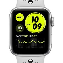 Apple Watch Nike SE (GPS) with Nike Sport Band 44mm Silver Aluminum Case. Nike.com