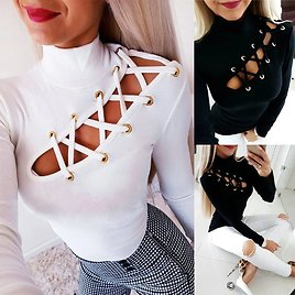 Feitong Fashion Blouse Women 2019 Sexy Autumn Winter High Collar Solid Hollow Out Leaky Skinny Blusa Feminina рубашка женская