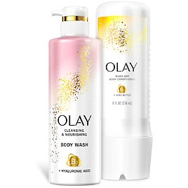 Olay Cleansing and Nourishing Body Wash, 17.9 Fl., Oz. and Conditioner, 8 Fl., Oz.