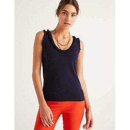 Chicester Frill Knitted Tank - Navy | Boden US