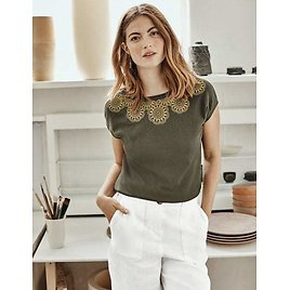 Elgin Embroidered Tee - Classic Khaki | Boden US