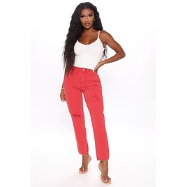 Mix It Up Mom Jeans - Red