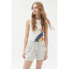 UO River Striped Linen Pull-On Short