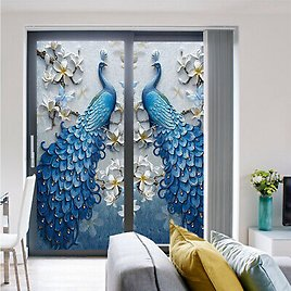 3D Peacock Static Cling Window Sticker Privacy Film Frosted Opaque Glass Decor