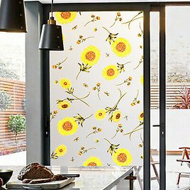 Opaque Frosted Window Films Static Cling Sunflower Stained Glass Stickers