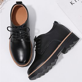 Women's Solid Color Lace Up Butterfly Knot Flats Oxfords Shoes