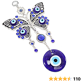 """Turkish Blue Evil Eye (Nazar) 5"""" Butterfly Amulet Wall Hanging Home Decor Protection Blessing Hoursewarming Birthday Gift"""