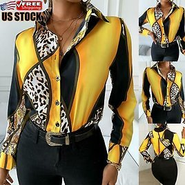 Womens Long Sleeve Buttons Shirt Ladies Leopard Printed Casual Party Blouse Tops