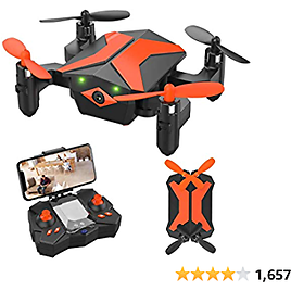 Drone for Kids Drones with Camera for Kids and Beginners, AR Game Mode RC Mini Drone W App Gravity Voice Control Trajectory Flight Altitude Hold 360°Flip Kids Drone Foldable and Portable