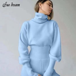 2020 Autumn New Women's Casual 2 Two-piece High Neck Long Sleeve Knitted Sweater Pullover & High Waist Pants Slim Sportswear Set