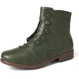 Women Casual Solid Color Button Decoration Comfortable Flat Short Boots