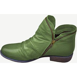 Women's Large Size Wearable Solid Color Side-zip Casual Flat Ankle Boots