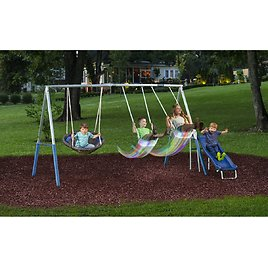 XDP Recreation FIREFLY Metal Swing Set with LED Swing Seats