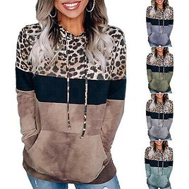 Women's Tops Ladies Leopard Casual Hooded Sweater Long Sleeve T-Shirts Top Tee