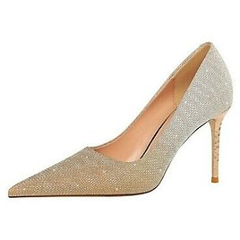 Ladies Party Shoes Glitter Fabric Stiletto High Heels Pointed Pumps US Size S146