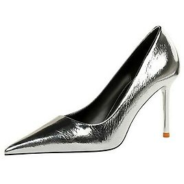 Ladies Pointed Toe Shoes Metallic Synthetic Leather High Heel Pumps UK Size S045