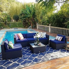 Soria Outdoor 6 Piece Rattan Sectional Seating Group with Cushions