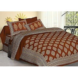 Indian King Size 100% Cotton Bed Sheet With Pillow Covers Christmas Decor 3 Pcs
