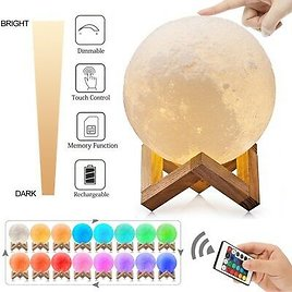 3D Printing Moon Lamp USB LED Night Lunar Light Moonlight Touch Color Changing 715444566172