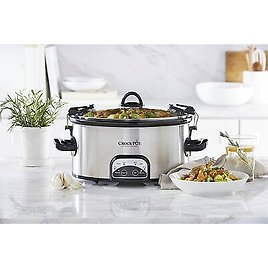 Crock-Pot 6-Quart Food Warmer Cook & Carry Oval Slow Cooker, Stainless Steel 48894043116
