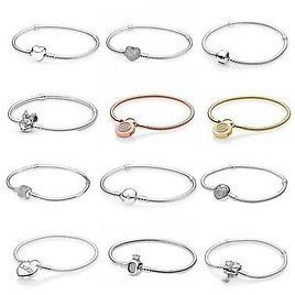 925 Sterling Silver Signature BRACELET Bangle Chain Moments Charm for Charms NEW