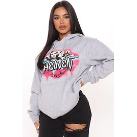 Watching From Above Angel Hoodie - Heather Grey