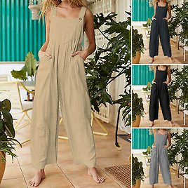 Summer Womens Jumpsuit Strappy Beach Overalls Oversized Wide Leg Pants Playsuits