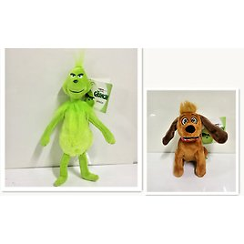 New Dr Seuss How The Grinch Stole and Dog Plush Toy Christmas Gift 2pcs