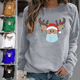 Womens Christmas Casual Long Sleeve T Shirt Blouse Loose Pullover Tunic Tops Tee
