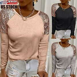 Women's Sequin Long Sleeve Jumper Blouse T Shirt Ladies Casual Pullover Tops