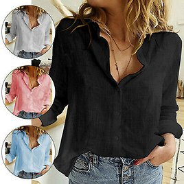 Women Casual Long Sleeve Button Down Blouses Shirts Loose Daily Work Tops Shirt