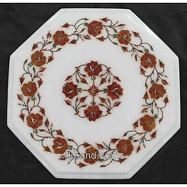 12 Inches Marble Coffee Table Top Floral Pattern Sofa Side Table Home Furniture