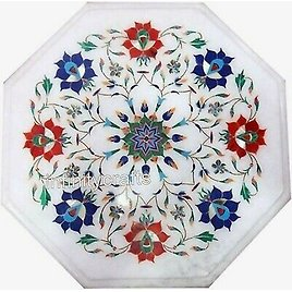 12 X 12 Inches Handmade Sofa Side Table Top White Coffee Table with Gemstones
